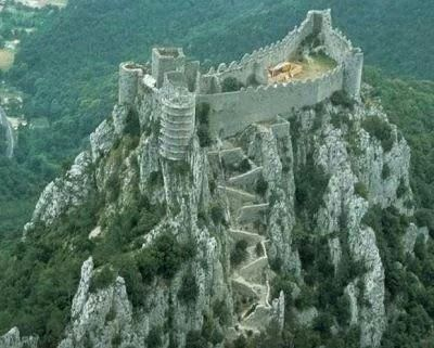 The Château de Puilaurens is one of the so-called Cathar castles in what is now the South of France. It is located in the commune of Lapradelle-Puilaurens