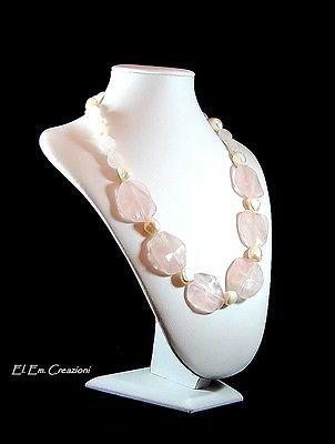 Collana Quarzo rosa e Perle barocche con chiusura in argento 925%