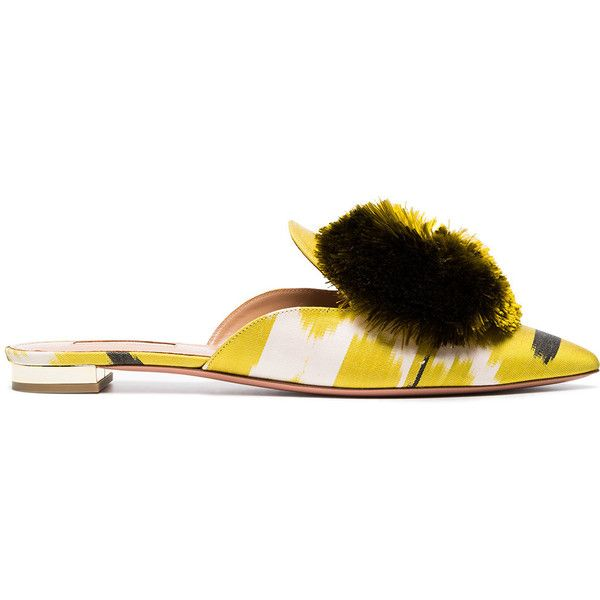 Aquazzura Lime Green Powder Puff Ikat Flats (17 075 UAH) ❤ liked on Polyvore featuring shoes, flats, green, aquazzura, flat heel shoes, lime shoes, lime green shoes and lime green flat shoes