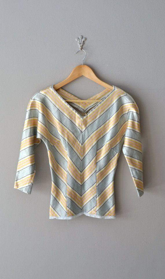 Pastel Chevron blouse / vintage 1950s blouse / 50s by DearGolden