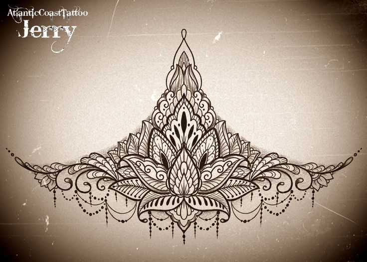 sternum underboob tattoo design idea, mandala, mendi, lotus flower.