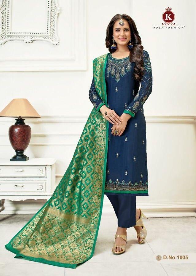 de5bd937f5 Kala Fashion Amyra Vol-2 Georgette Satin Suit (6 Pc Set) | Designer ...