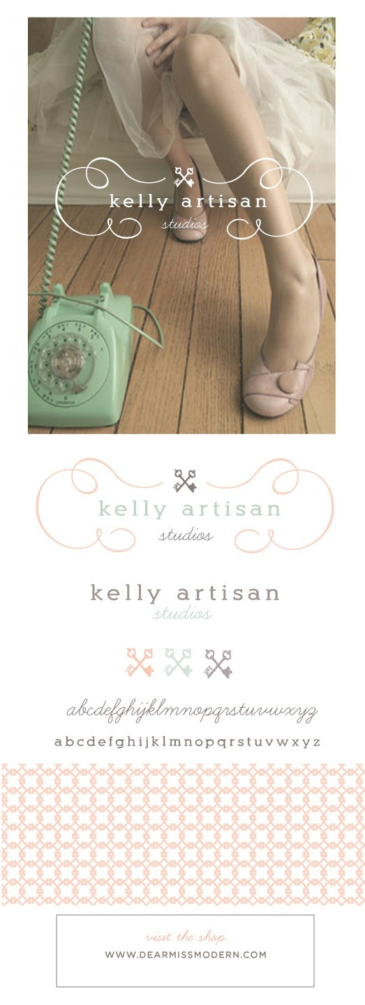 Featured: The Kelly Logo paired with a Le Pattern Graphique. Layered PSD files allow for color changes and the use of individual elements. Font information and instructions included, 15 designs available, instant download. www.dearmissmodern.com. Pretty | Smart.