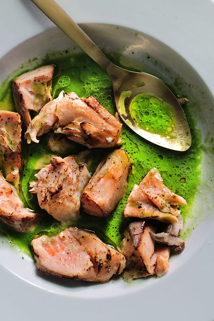 Torched Salmon in Green Sauce by ladyandpups: This recipe is a great entertaining dish because the actual cooking of the fish can be done even the day before #Salmon #Green_Sauce #Healthy