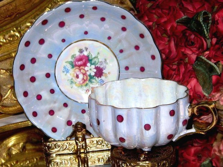 387 best tea cup and saucer images on pinterest tea cup for Gold polka dot china