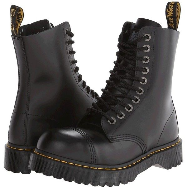 Dr. Martens 8761 (Black Fine Haircell) Men's Lace-up Boots ($140) ❤ liked on Polyvore featuring men's fashion, men's shoes, men's boots, mens steel toe boots, mens boots, mens black boots, mens leather boots and mens leather shoes