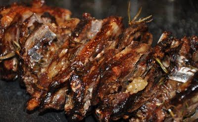 Fire and Food: Spit Roasted Lamb Chops with Garlic & Rosemary