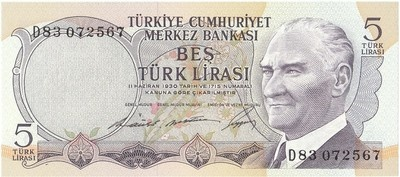 A Mint Uncirculated 1970 Five Pound Banknote from Turkey