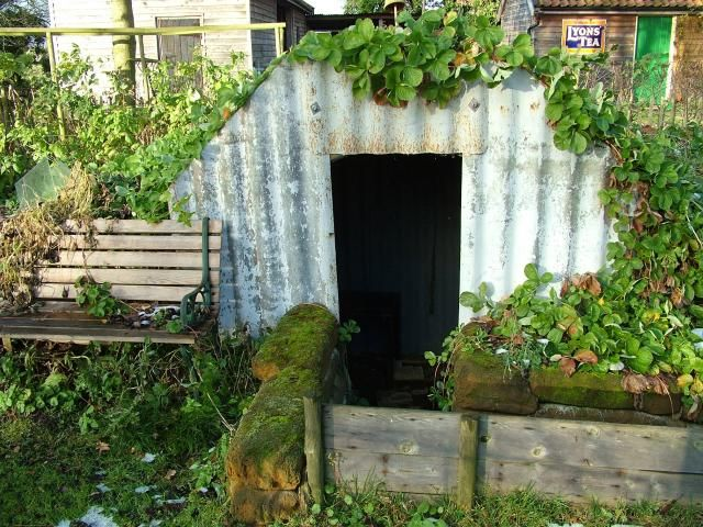 An Anderson shelter in a garden in Banham, Norfolk, preserved in the way it would have looked in the 1940s. Many gardens had such bomb shelters erected in them during the war.