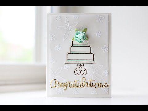 Virtual Smooches: Elegant Embossed Wedding Card