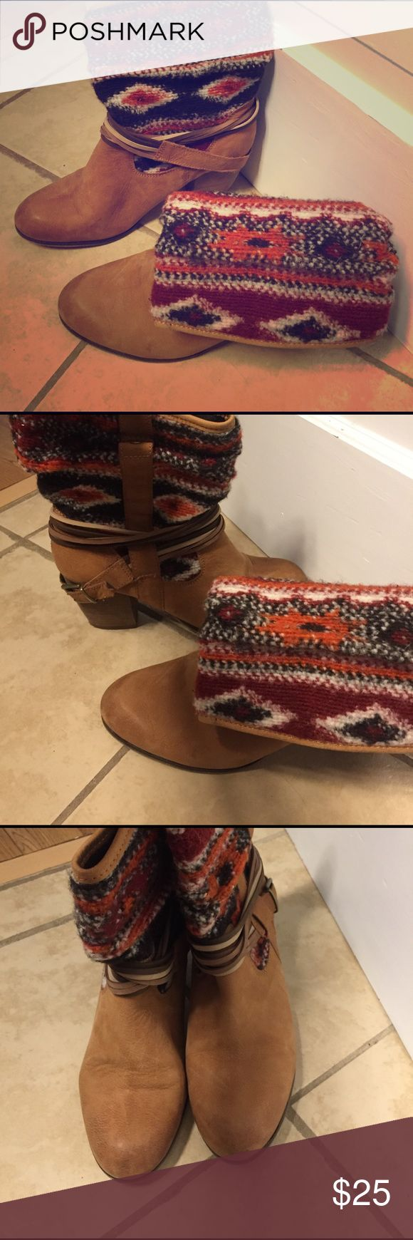 Southwestern style Steve Madden boots Super fun detailing, stacked wood heel, some wear but that's mostly from how they were styled. Maybe worn 2-3 times. Steve Madden Shoes Ankle Boots & Booties