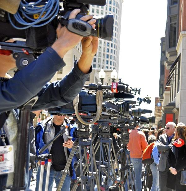 News cameras everywhere