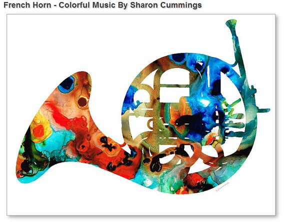 Cuerno francés arte impresión de pintura por BuyArtSharonCummings