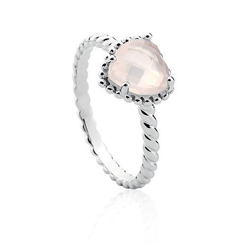 Anel em prata 925 com quartzo rosa - Life
