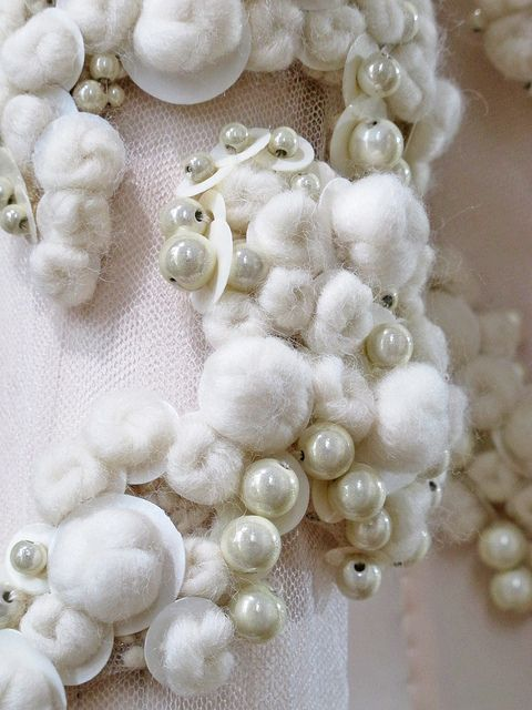 Surface Adornment - embellished fabric design with white wool balls, sequins pearls - haute couture dress detail; textiles for fashion // Givenchy