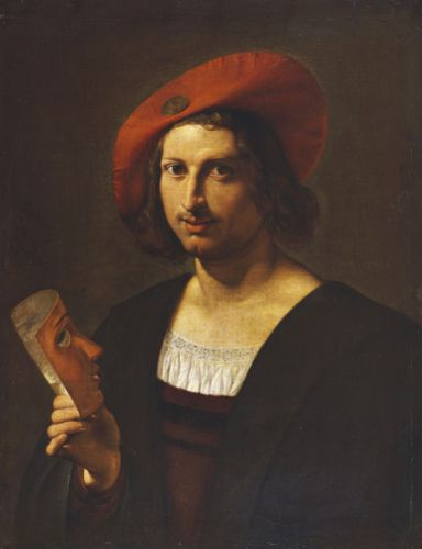 Portrait Of A Young Man Wearing A Wide-Brimmed Red Hat With A Badge by Pietro Paolini