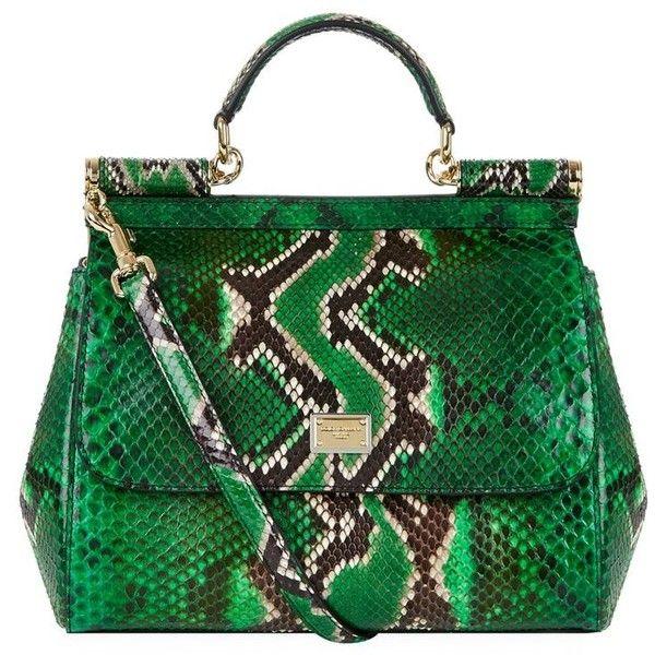 Dolce & Gabbana Medium Sicily Python Top Handle Bag ($3,055) ❤ liked on Polyvore featuring bags, handbags, tote bags, dolce gabbana tote, dolce gabbana handbag, snakeskin handbags, green handbags and green purse