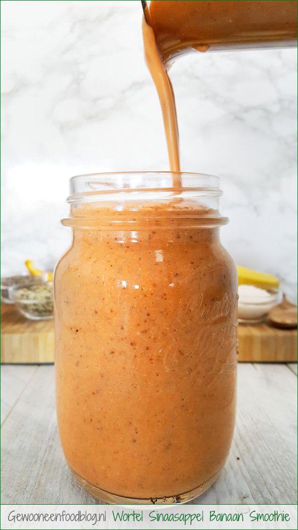 Wortel sinaasappel smoothie met banaan | Gewooneenfoodblog.nl