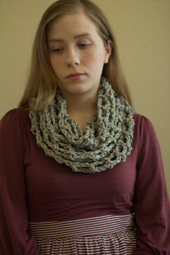 Gray Cotton Infinity Scarf Spring scarf by PreciousLambKnits