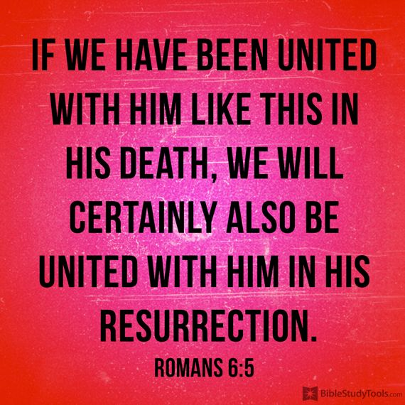 """""""If we have been united with him like this in his death, we will certainly also be united with him in his resurrection."""" Romans 6:5"""