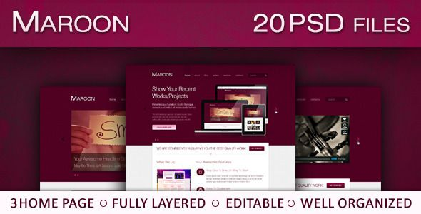 See More Maroon - Smooth & Clean PSD ThemeIn our offer link above you will see