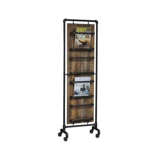 Industrial Tall Magazine Rack Reclaimed Teak and Pipe ($570) ❤ liked on Polyvore featuring home, home decor, small item storage, industrial pipe rack, industrial home decor, industrial racking, industrial magazine rack and pipe rack