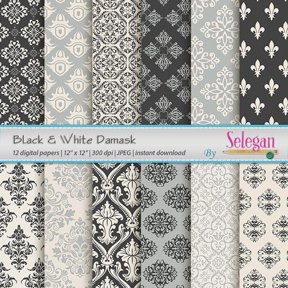 Black And White Print Damask European Royal Seamless Art Pattern Scrapbook Paper
