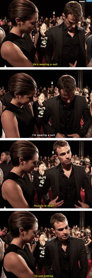 These two are so cute. Shailene Woodley (to play Tris Prior) and Theo James (to play Four) of Divergent Movie, at the VMA's 2013.#truedivergentfan