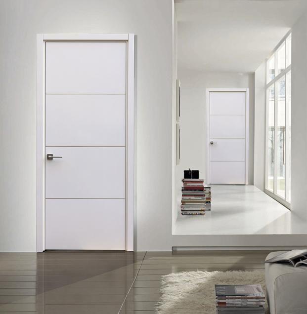 Milan Contemporary Interior Door White Gloss Laminate W Aluminum Strips Doors Interior Modern Contemporary Interior Doors White Interior Doors