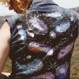 Give your old denim jacket new life with this galaxy inspired vest restyle!