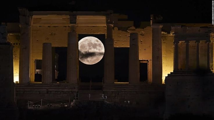 # Supermoon behind the Propylaea , #fullmoon #Acropolis of #athens - #parthenon by #night
