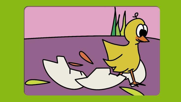 Blij uit het ei. Past bij het thema Boerderij, kippen, lente. Digitaal prentenboek voor gebruik in onderwijs aan peuters en kleuters.