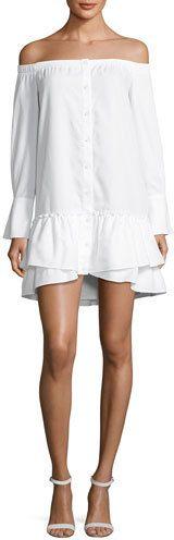 BCBGMAXAZRIA Aiyana Off-the-Shoulder Twill Mini Dress, White