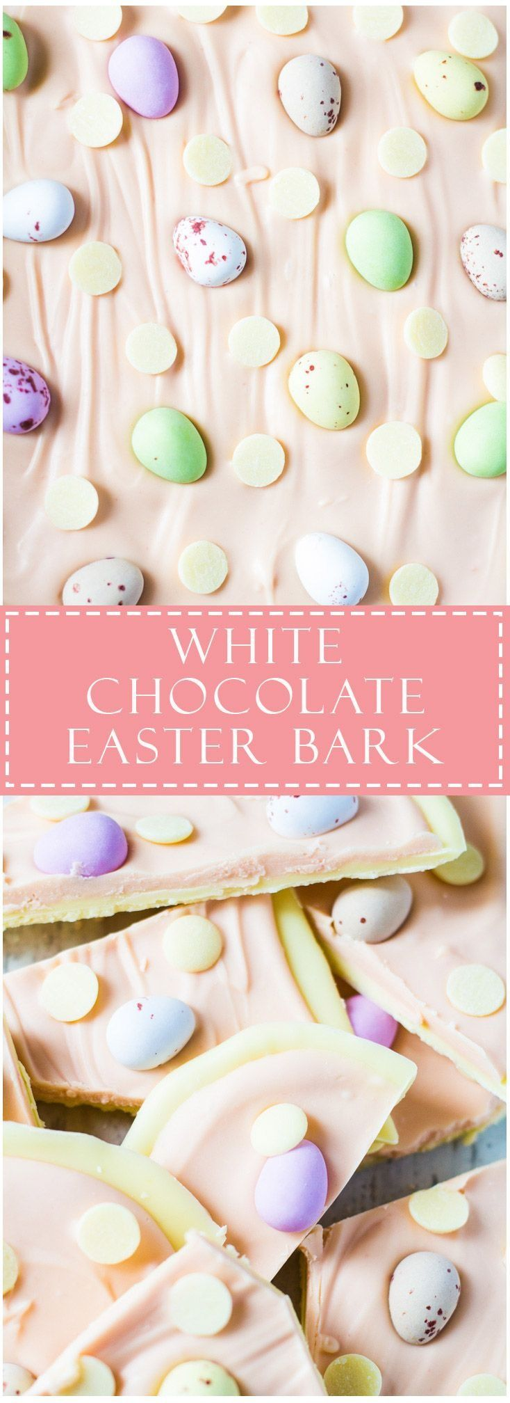 A white chocolate layer topped with pink white chocolate, and studded with Cadbury Mini Eggs and white chocolate chips!