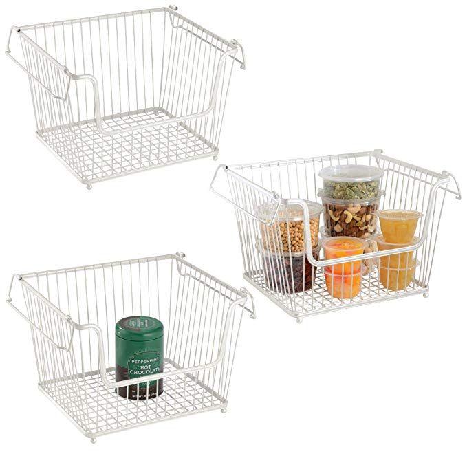 Mdesign Modern Stackable Metal Storage Organizer Bin Basket With Handles Open Front For Kitchen Cabinets Pantry Organizing Bins Wire Basket Storage Mdesign