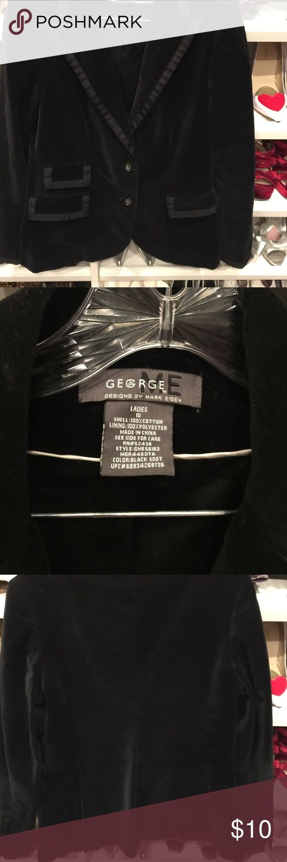 "Velvet black jacket by Mark Eisen ""George"" Very well made, fully lined velvet jacket. Priced to sell size 10 George Jackets & Coats Blazers"