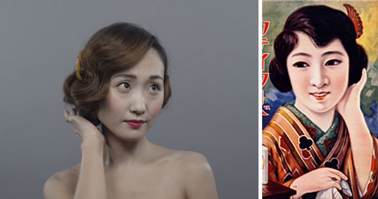 100 Years of Beauty - Japan #1920s #hair #style #fashion #makeup #mimikakushi