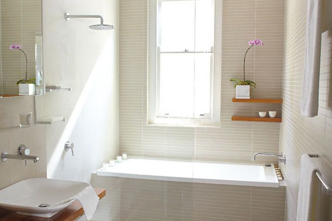After: A light-filled haven that instills a sense of serenity. Mosaic wall tiles in Seed, Tiles By Kate. Nikles...