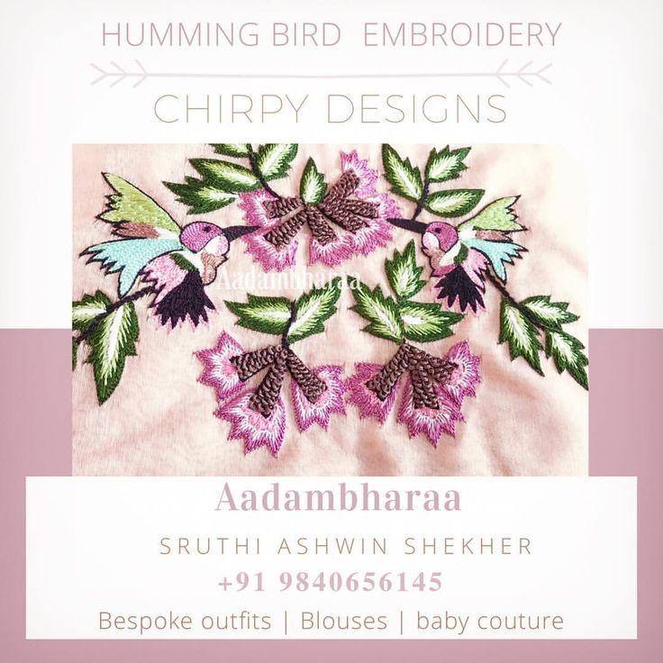 Chirpy Designs by Aadambharaa 🐥☘️ for your Dress | Blouse | Anarkalli | saree | babycouture Whatsapp us to customise +919840656145 . . . #hummingbirdembroidery #aadambharaadesign #aadambharaachennai #exclusivedesigns #designoftheday #instapic #instalove #instapost #birdembroidery #birddesigns #indianethnic #indianoutfit #bespoke #customised #handembroidered #threadembroidery #frenchknots #pastelshades #designlove #picoftheday #instagood #instadaily