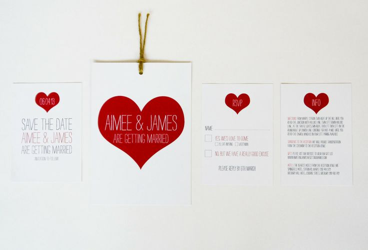 Love Heart Wedding Invitation range  sarahcoll.com