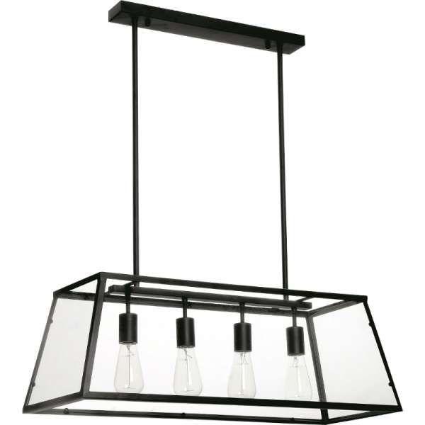 LAMPA wisząca TELAIO 9127404 BriTop rustykalna OPRAWA szklany ZWIS klatka loft czarna przezroczysta