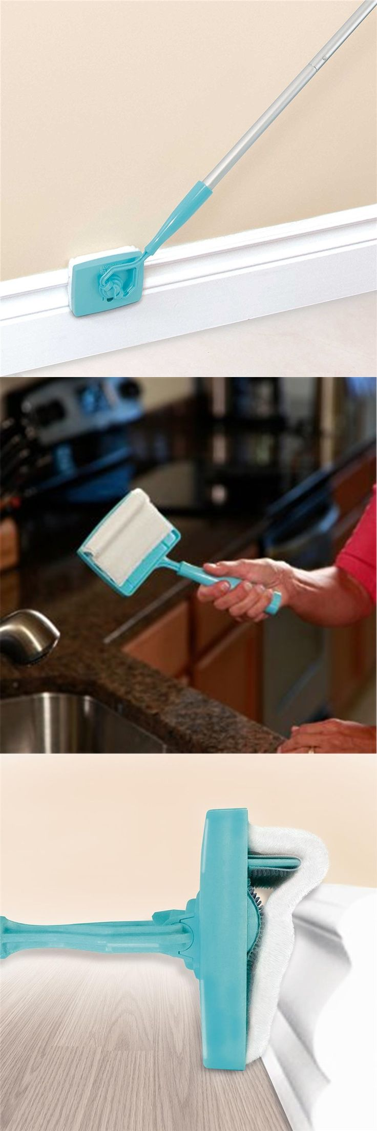 Baseboard Extendable Microfiber Duster Buddy 360 Degree Swivel-action Head Home Kitchen Multi-Use Clean Duster Tool
