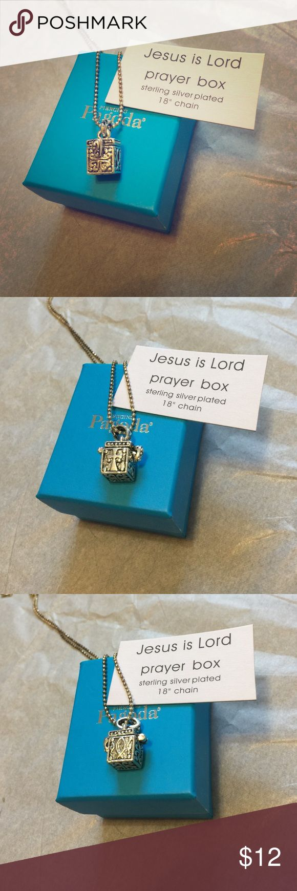 "NEW Silver Plated Prayer Box Necklace NEW Silver Plated Prayer Box Necklace. 18"" adjustable chain. Features a real opening box to put in itty bitty prayers  a cross, hearts and the fish designs. Would make an awesome gift, little blue box is included. Jesus is Lord.  Fast Shipping! Smoke Free Home! Open to Offers on my Items or 15% off Bundles! Top 10% Seller!  Piercing Pagoda Jewelry Necklaces"