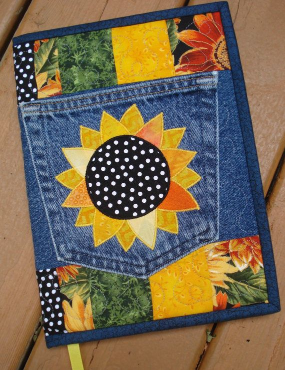 Sunny Sunflower Recycled Denim Quilted Jean Pocket Journal Cover No instructions just inspiration