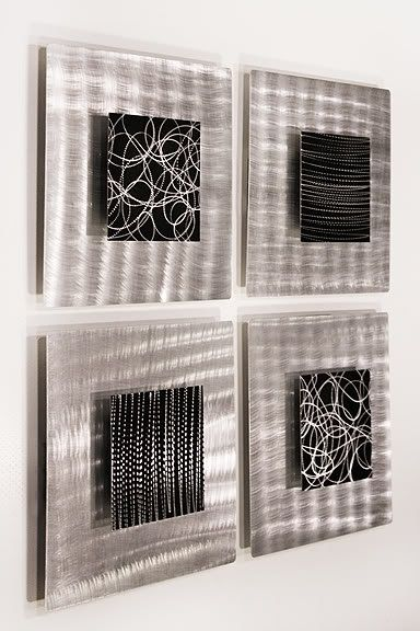 $$ OFF! This sophisticated set of 4 metal wall decor is originally priced at $195 but is currently being offer for $179.99 plus shipping. This sale will not last long!  Title: Freestyle  Dimensions: Four individual panels that measure 12 X 12 X 3 each. Unique and innovative brackets are attached to the back panels and allow the artwork to be mounted horizontally, vertically, or any other angle you desire.  Color: Silver & Black  It is my great pleasure to offer you this stunning hand-craf...