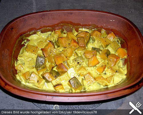 Kürbis mit Kokosmilch und Curry im Römertopf