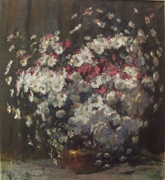 Cosmos flowers oil painting by Adriaan Boshoff