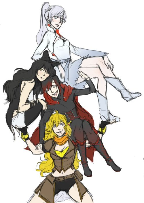 RWBY: The Tower of Team RWBY, Held By the Great Yang - Ruby, Weiss, Blake, & Yang