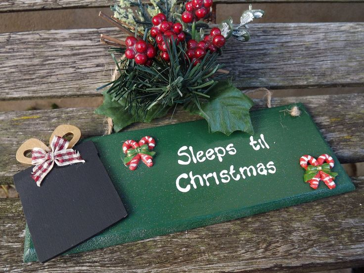 SLEEPS TIL CHRISTMAS. Hand-painted, wooden Xmas countdown gift plaque. by…