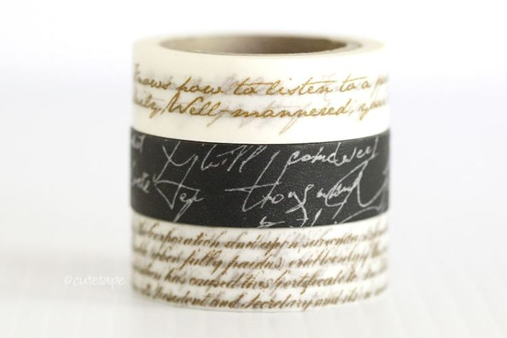 Cute washi tape with script pattern - two line on white, four lines on white or white on black 15mmx10m / roll $2.00 Love the black one